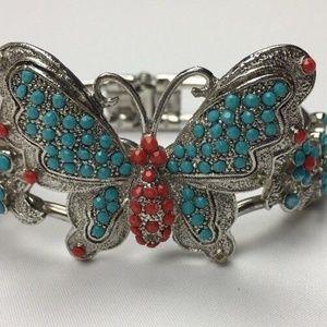 Jewelry - Hinged Cuff Bracelet Silvertone Butterfly